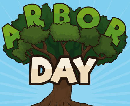 Cartoon poster with colorful tree and letters in its branches and crown promoting Arbor Day celebration.