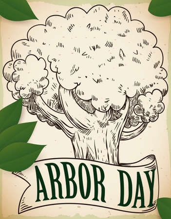Hand drawn design with beautiful tree and a ribbon with some leaves scattered around it to celebrate Arbor Day. 일러스트