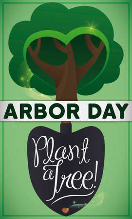 Commemorative design with a shovel and a tree in the top of it, planting a seed to celebrate Arbor Day, promoting tree plantation.