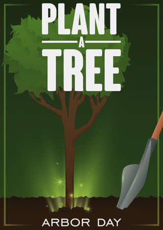 Poster with a shovel and a beautiful tree sapling growing up in fertile soil with some glows promoting the plantation of trees for Arbor Day celebration. Vektoros illusztráció