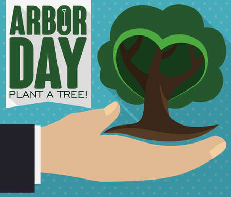 Flat design with long shadow presenting a hand holding a tiny tree, promoting tree plantation during Arbor Day celebration.