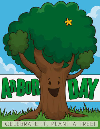 Happy, smiling, female tree with a yellow flower celebrating Arbor Day in a beautiful day with clouds in the sky promoting tree plantation. Ilustrace