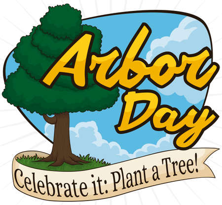 Beautiful sky view with a tall tree and a ribbon promoting tree plantation during Arbor Day celebration. 일러스트