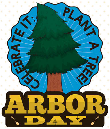 Button with growing young pine promoting tree plantation during Arbor Day.
