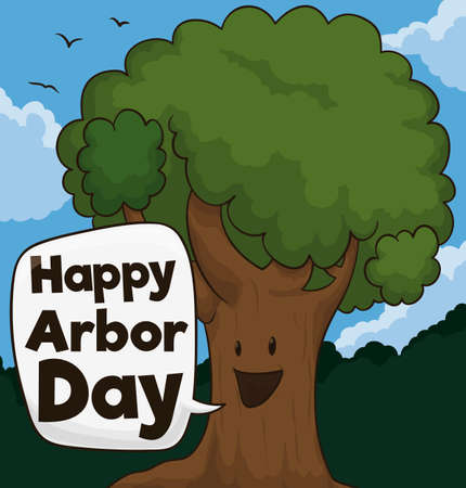 Cute smiling tree in a forest view, with flying bird wishing at you a happy Arbor Day.