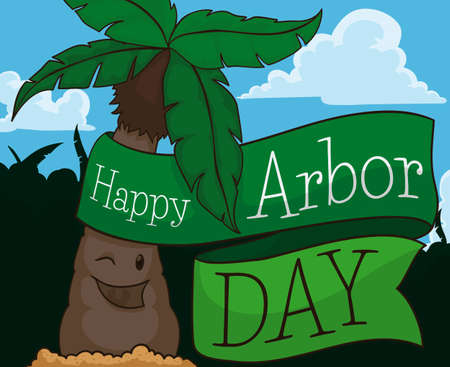 Happy palm tree in a beautiful isle with forest, sky with some clouds and a greeting ribbon promoting and celebrating Arbor Day,