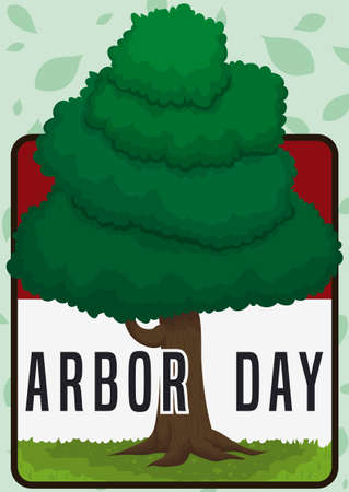 Loose-leaf calendar reminding at you Arbor Day celebration with a healthy tree and leaves pattern in the background. Ilustrace