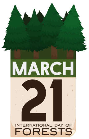 Loose-leaf calendar with pine trees in the top of it and reminder date to celebrate International Day of Forests in March 21.