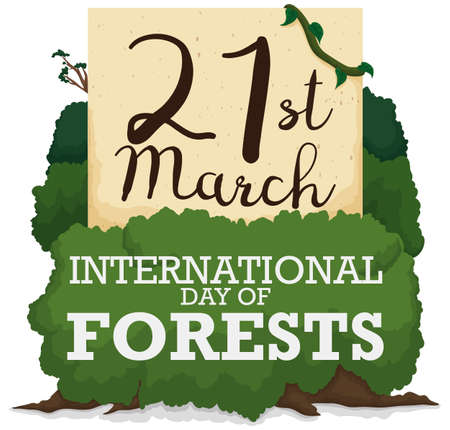 Reminder date in a paper made out of recycled paper for International Day of Forests, tangled in a tree vines.