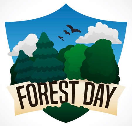 Commemorative design for Forest Day: shield silhouette with beautiful sky view, grove with trees and pines, symbolizing the protection for this ecosystems.