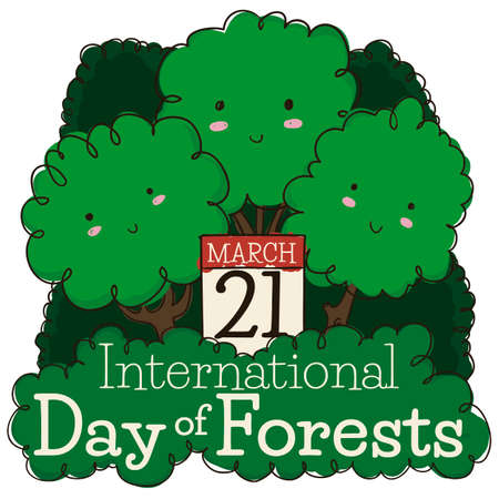 Tender triplet of trees promoting International Day of Forests with calendar reminding you to celebrate this date in March 21.