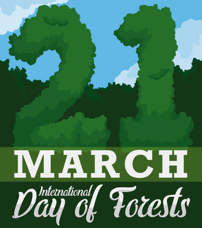 View of a forest with lush vegetation and trees like numbers like reminder date to celebrate International Day of Forest in March 21.
