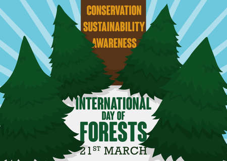 Poster with some precepts in wooden sign, pine trees and greeting message with the date for International Day of Forests in March 21. Ilustrace