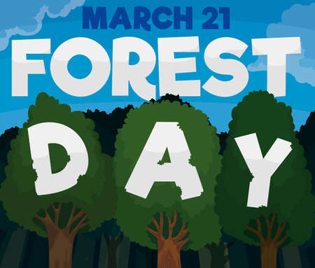 View of a grove with trees holding letters forming a greeting message to celebrate Forest Day in March 21. Ilustrace