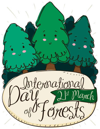 Cute, tender pines promoting celebration of International Day of Forests with a greeting sign and reminder ribbon with the date for this holiday: 21st March.