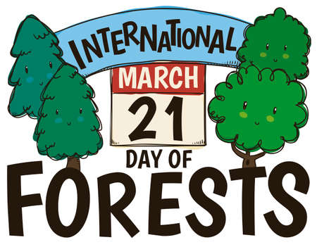 Cute trees of different types commemorating International Day of Forests and reminding at you the date of this celebration with calendar: March 21.