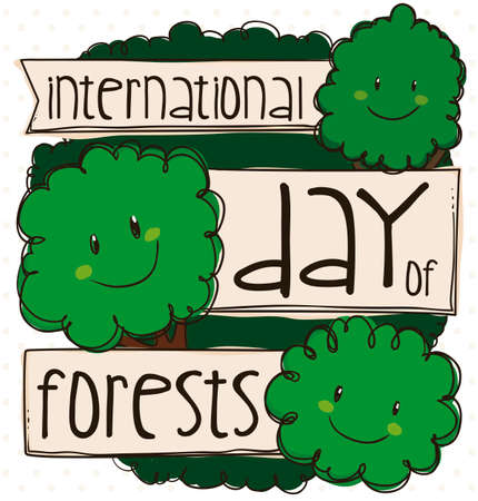 Happy trees promoting celebration of International Day of Forests with greeting ribbon and cute smiles.