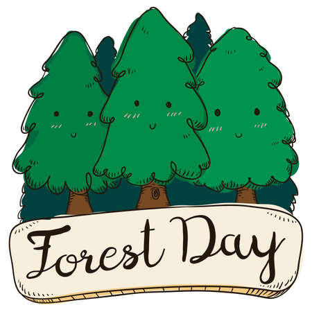 Design in doodle style with happy cute pins over greeting sign, ready to celebrate Forest Day.