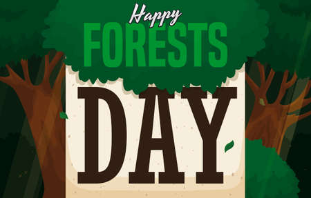 Beautiful illuminated forest with light gaps and a recycled paper reminding and wishing at you a happy Forests Day.