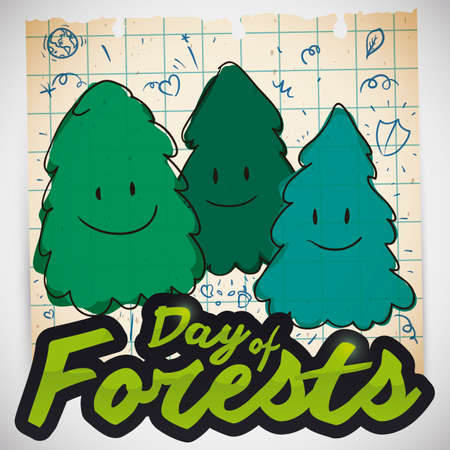 Cute doodles drawings and happy smiling pine trees in recycled squared paper and sign celebrating Day of Forests promoting protection, care and love for this ecosystems.