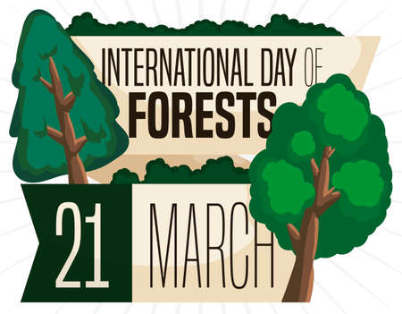 Commemorative design with greeting ribbons and different tree types promoting International Day of Forests celebration this 21st March.