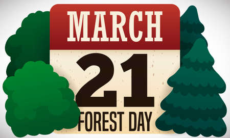 Calendar reminding at you the date for Forest Day celebration with various trees around it: March 21.