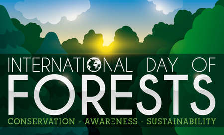 Banner with beautiful view of a calm sunset in tranquil grove during International Day of Forests with some precepts: conservation, awareness and sustainability.