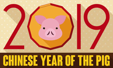 Flat design with long shadow presenting cute piggy face to celebrate the 2019 Chinese New Year of the Earth Pig.