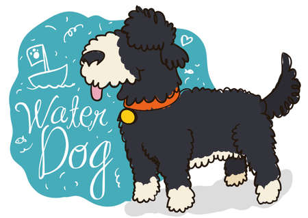 Cute water dog ready to set sail in the sea for a great adventure with its master and blue spot with marine doodles.