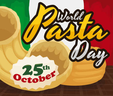 Delicious chifferi rigati -also called elbows and gomiti pasta- over squared tablecloth and Italian flag in the background reminding at you to celebrate World Pasta Day this 25th October.