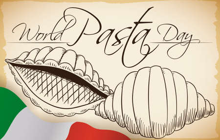 Scroll with delicious conchiglie pasta in both sides: front and rear side in hand drawn style with Italian flag to commemorate World Pasta Day. Vettoriali