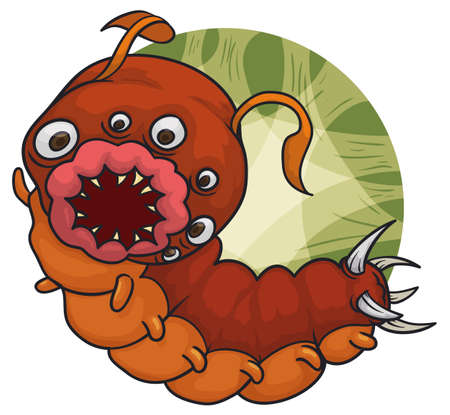 Mutant caterpillar-leech with a lot of eyes and spikes in its tail, antennas and smiling with a fierce mouth, ready to become other monster ... maybe a beautiful one.