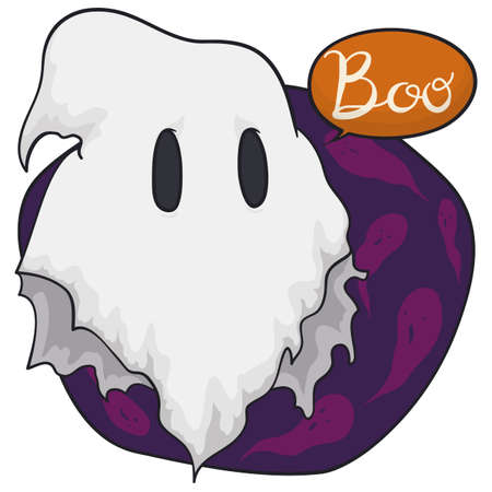 Cute ghost disguised with a ragged blanket practicing its