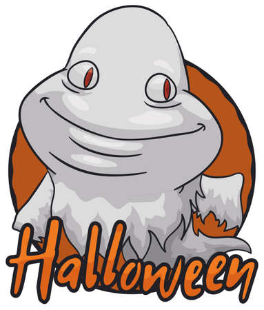Chubby ghost saluting at you over round button with a mischievous face for Halloween celebration.