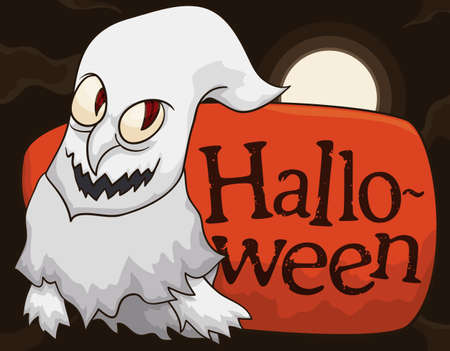 Ghost with hook nose, ragged clothes and a sign, lurking in a night of Halloween with full moon ready to celebrate this annual holiday. Illustration