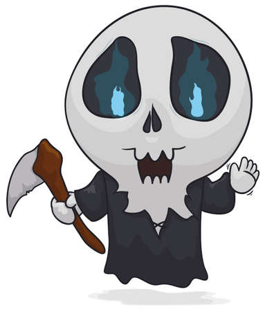 Cute ghost saluting at you, disguised as Death with the characteristic scythe and fiendish eyes. Ilustración de vector