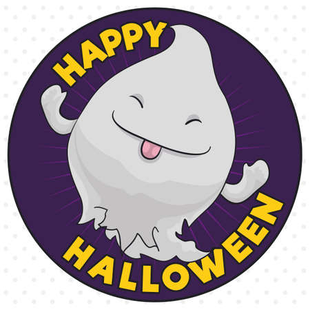 Cute ghost making a funny face with tongue out in a commemorative button for Halloween celebration.