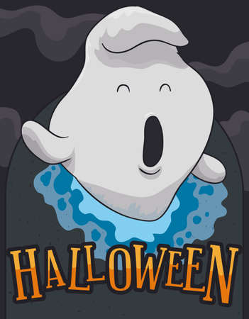 Cute ghost waking up for the night of Halloween from a tomb across a spiritual dimensional vortex.