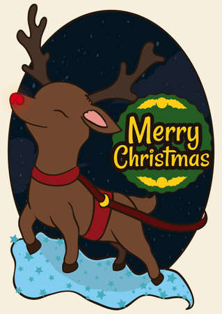 Tender reindeer with glowing red nose, pulling a sleigh and flying magically in a night of Christmas.