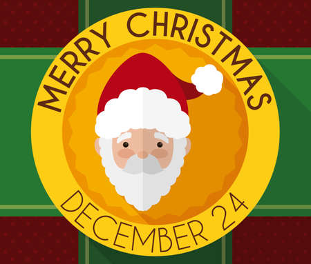 Commemorative Christmas button with cute Santa Claus face inside of it over a background with ribbons and gift wrap pattern. Ilustração