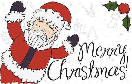 Happy Santa Claus ready to celebrate Christmas with traditional elements in doodle style: gift, cookie and milk, sock, Xmas tree, stars, music notes, mistletoe and cute reindeer face.