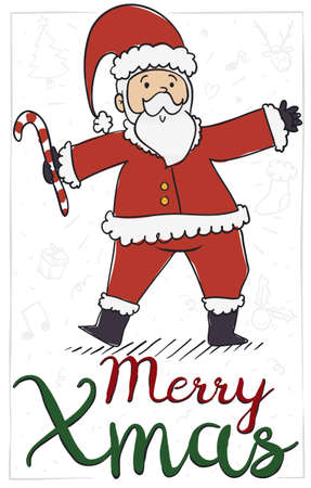 Cute Santa Claus in doodle style holding a candy cane in a commemorative postcard to present this Christmas -or Xmas- celebration.