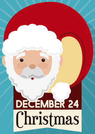 Cute Santa with long red hat, ribbon with Christmas date, reminding at you to celebrate this special holiday this December 24. Çizim