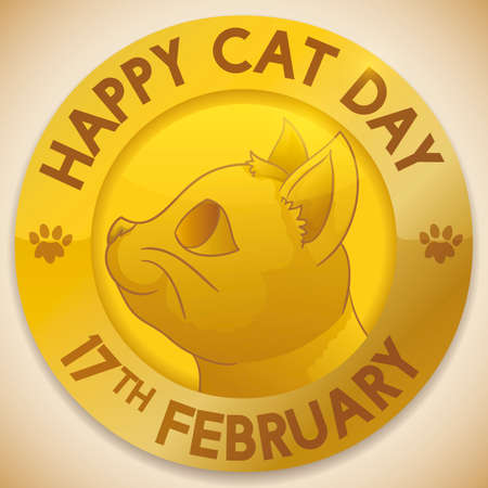 Golden medal with happy, smiling cat face ready to celebrate Cat Day in February 17. Illustration