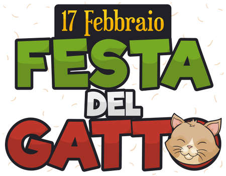 Smiling cat face in a commemorative sign over some cat hair in the background to celebrate Cat Day (written in Italian) this 17th February. Illustration