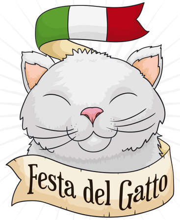 Cute, smiling cat with a ribbon with Italy flag colors and a greeting message to celebrate Cat Day (written in Italian).