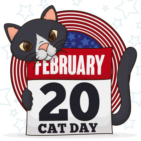 Cat holding a loose-leaf calendar with reminder date to celebrate Cat Day this 20th February, over a button like USA flag and stars in the background.