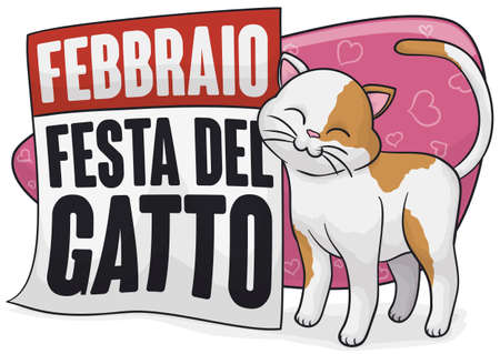 Lovely and cute kitty promoting Cat Day (written in Italian), rubbing in a reminder calendar to celebrate this special day in February. Illustration