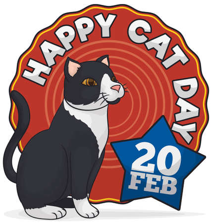 Elegant white and black cat waiting for the date to celebrate Cat Day this 20th February with a commemorative label and star.