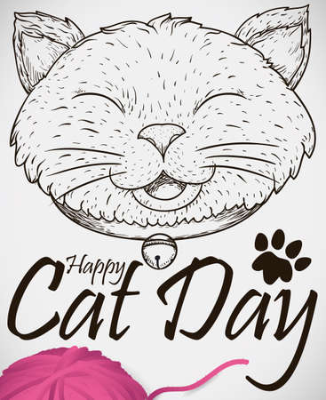 Poster with smiling cat wearing a collar and jingle bell in hand drawn style, greeting, paw print and a wool string ball to celebrate a happy Cat Day.
